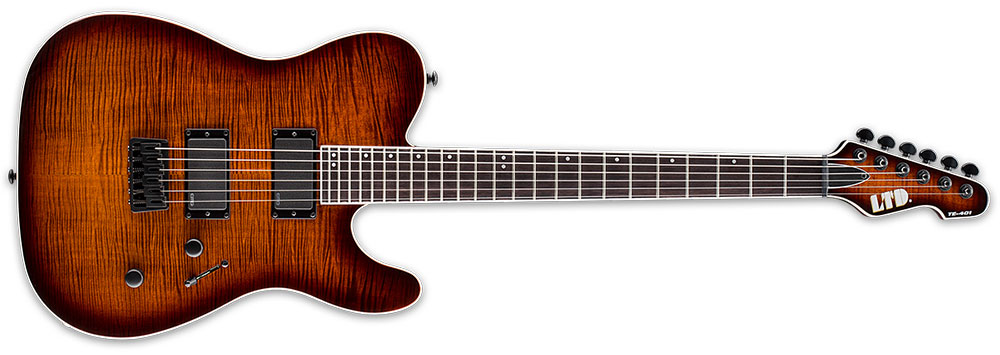 ESP LTD TE-401 FM DBSBS 6-String TE-Series Flamed Maple Top Electric Guitar - Dark Brown Sunburst Finish (LTE401FMDBSBS)