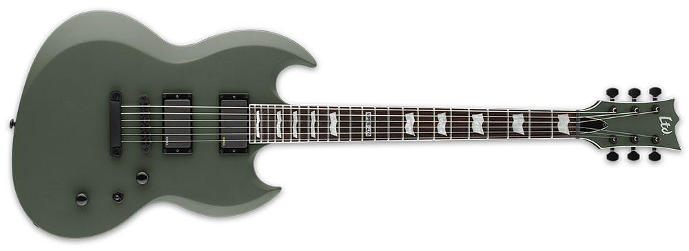 ESP LTD VIPER-401 MGS 6-String Viper Series 3Pc Mahogany Neck Electric Guitar - Military Green Satin Finish (LVIPER401MGS)