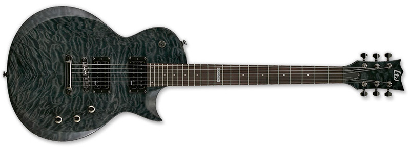 ESP LTD EC-100 EC Series Electric Guitar Quilt Maple - See Thru Black Finish Quilted Maple Top & Rosewood Fingerboard (LEC100QMSTBLK)