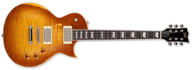 ESP LTD EC-256 DISTRESSED Series Electric Guitar - Aged Honey Burst Mahogany Body & Flamed Maple Top (LEC256AHB)