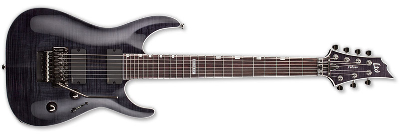 ESP LTD H-1007 Floyd Rose H-Series Electric Guitar - See Thru Black Flamed Maple Top & Mahogany Body (LH1007FRSTBLK)