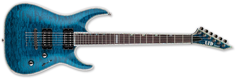ESP LTD MH-1000 NT Seymour Duncan MH-Series Electric Guitar - See Thru Blue Finish Quilted Maple Top & Mahogany Body (LMH1000NTSTB)