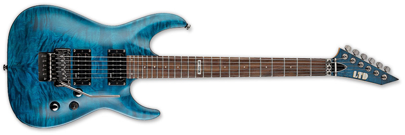 ESP LTD MH-100 QM MH-Series Electric Guitar - See Thru Blue Finish Quilted Maple Top Basswood Body (LMH100QMSTB)