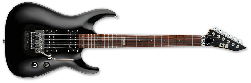 ESP LTD MH-50 LH MH-Series Left-Handed Electric Guitar - Black Finish Basswood Body & Rosewood Fingerboard (LMH50BLKLH)