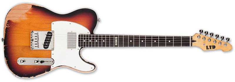 ESP LTD TE-202 Distressed Electric Guitar Rosewood - 3-Tone Burst Finish (LTE2023TB)