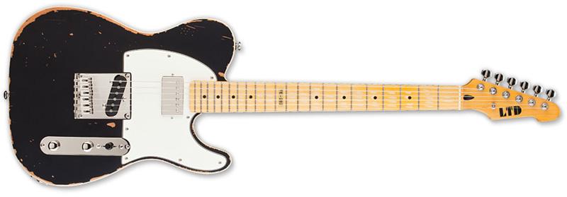 ESP LTD TE202 Electric Guitar, Maple Neck Distressed Black (LTE202BLK)