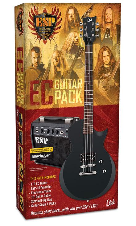 ESP LTD EC-Guitar Pack - Black Satin Finish w/ 10 Amplifier  Electronic Tuner 10' Cable Softshell Gig Bag Picks & Strap (LECPACKBLKS)