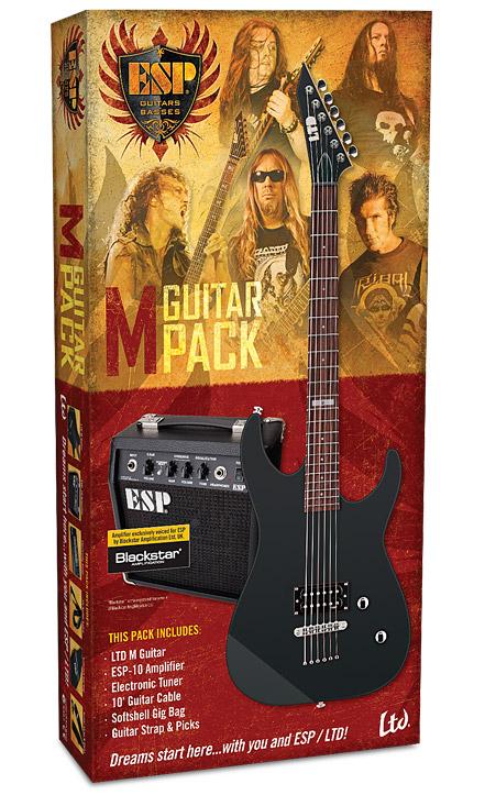 ESP LTD M Guitar Pack w/ ESP-10 Amplifier Electronic Tuner 10' Guitar Cable Softshell Gig Bag Straps & Picks (LMPACKBLKS)