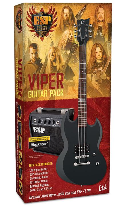 ESP LTD Viper Electric Guitar Value Package Black Satin (LVIPERPACKBLKS)