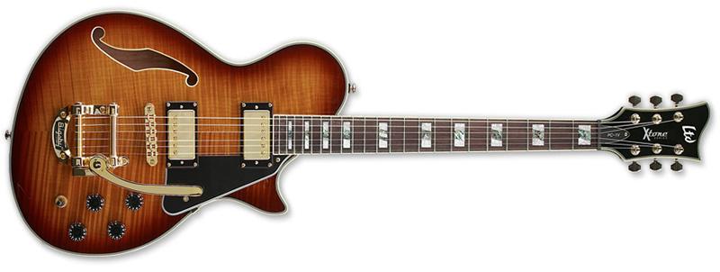 ESP LTD X TONE PC-1V Paramount Hollow Electric Guitar with Bigsby Brown Sunburst Finish (XPC1VBSB)