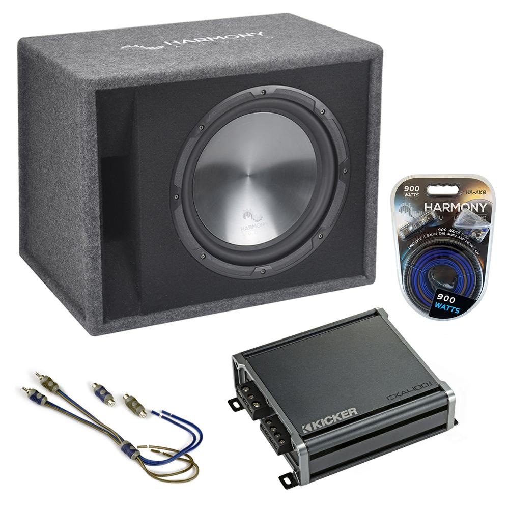 """Fits Audi A4 96-17 Harmony Single 12"""" Loaded Sub Box Enclosure & CXA400.1 Amp"""