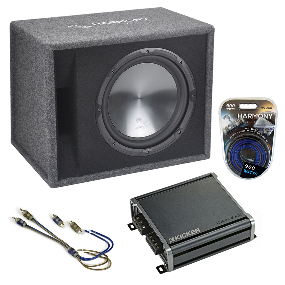 "Fits Ford Focus 00-17 Harmony Single 12"" Loaded Sub Box Enclosure & CXA400.1 Amp"
