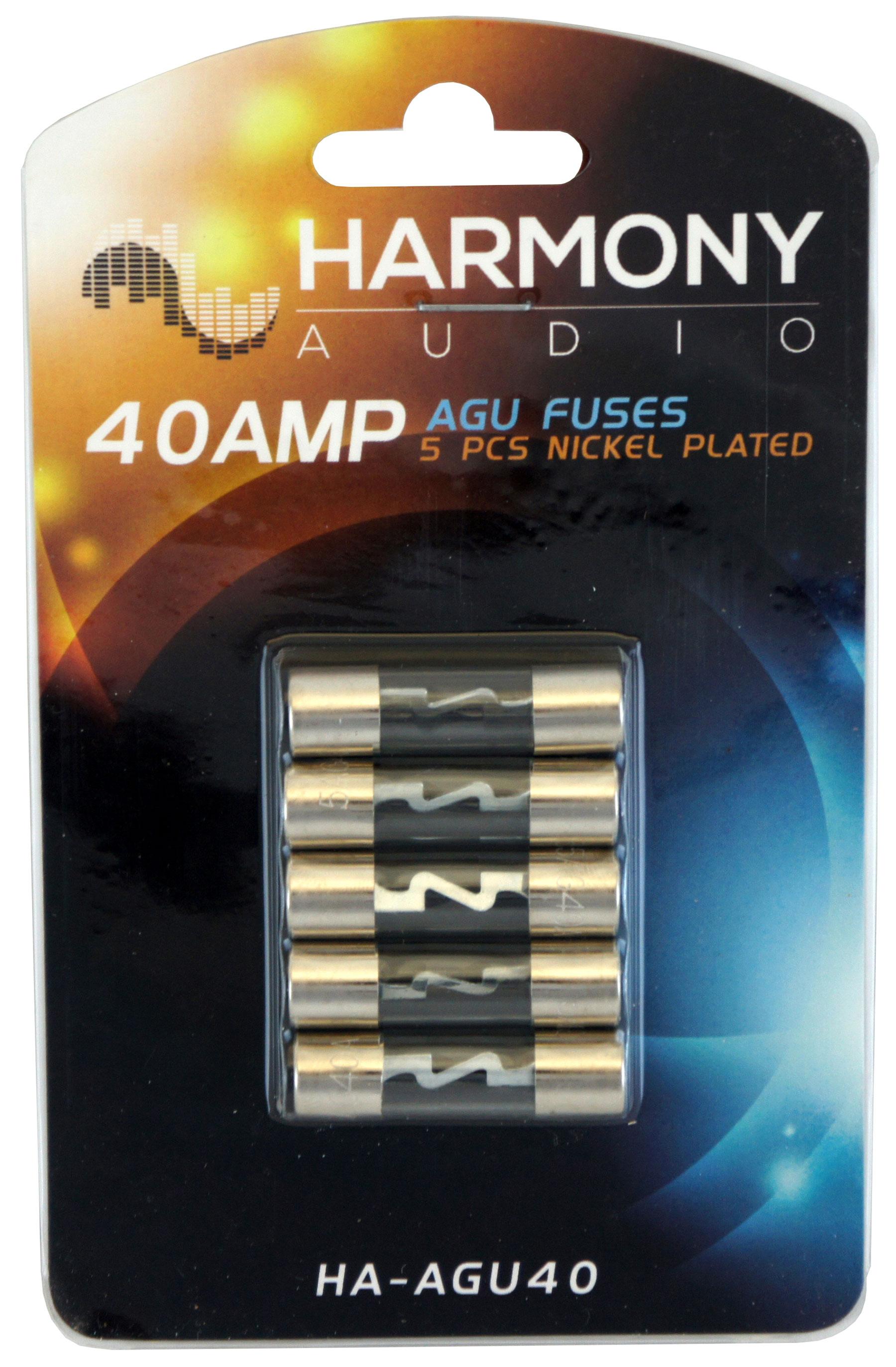 Harmony Audio HA-AGU40 Car Stereo Fuseholder 5 Pack 40 Amp AGU Fuses - Nickel