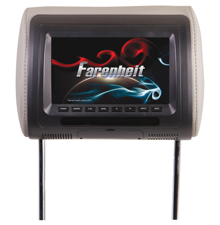 "Farenheit HR-71CC High Quality 7"" LCD Screen Replacement Headrest w/ AUX Input"