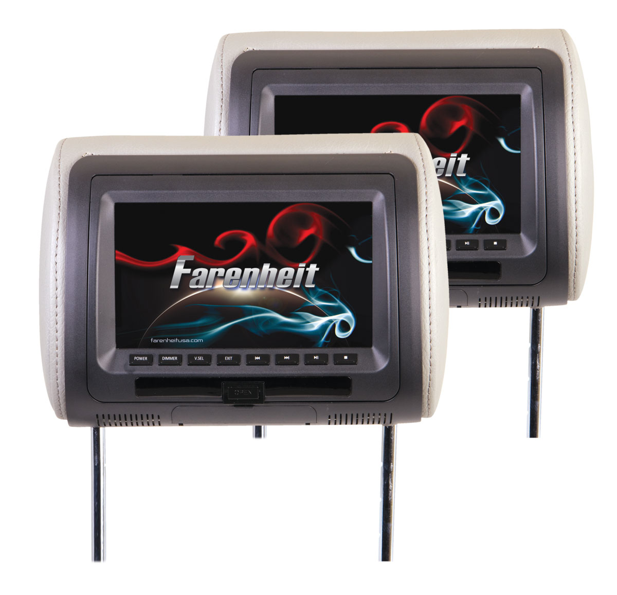 "Farenheit HRD-72CCP Pair of Universal 7"" LCD Replacement Headrest w/ DVD Player"