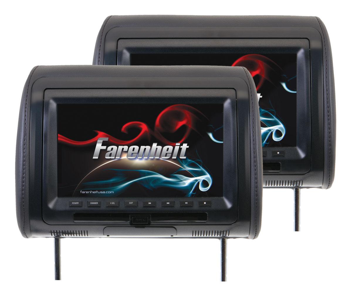 Farenheit HRD-92CCP 9 Inch LCD Screen Universal Replacement Headrest Set of 2