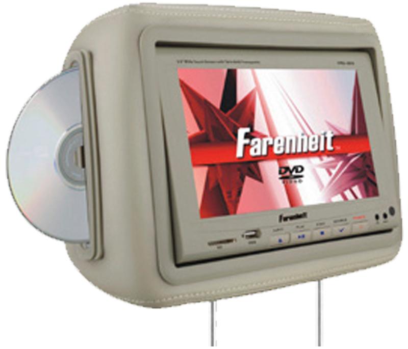 "Farenheit HRD-9BG  8.8"" Universal Replacement Headrest w/ 2 Headphones (Beige)"