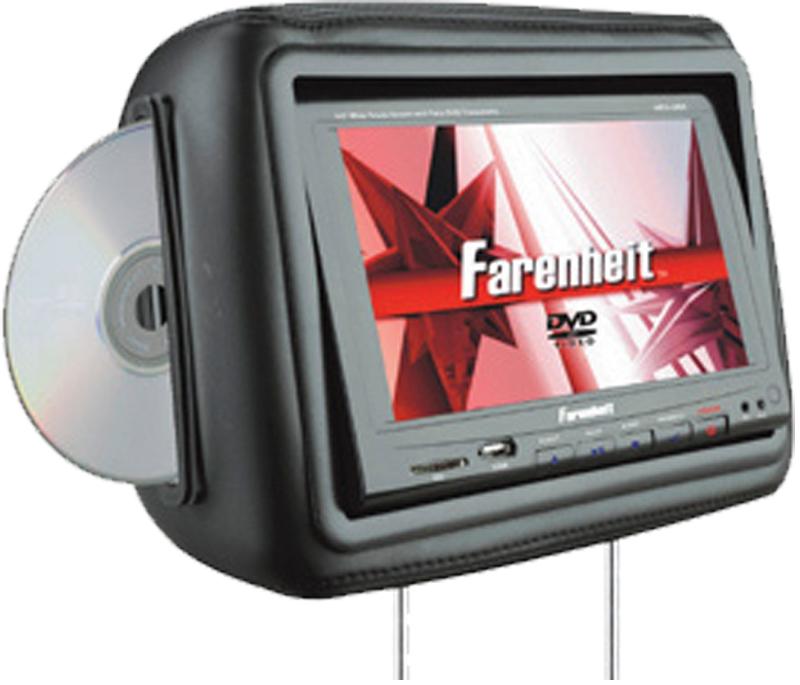 "Farenheit HRD-9BK 8.8"" Universal Replacement Headrest w/ 2 Headphones (Black)"