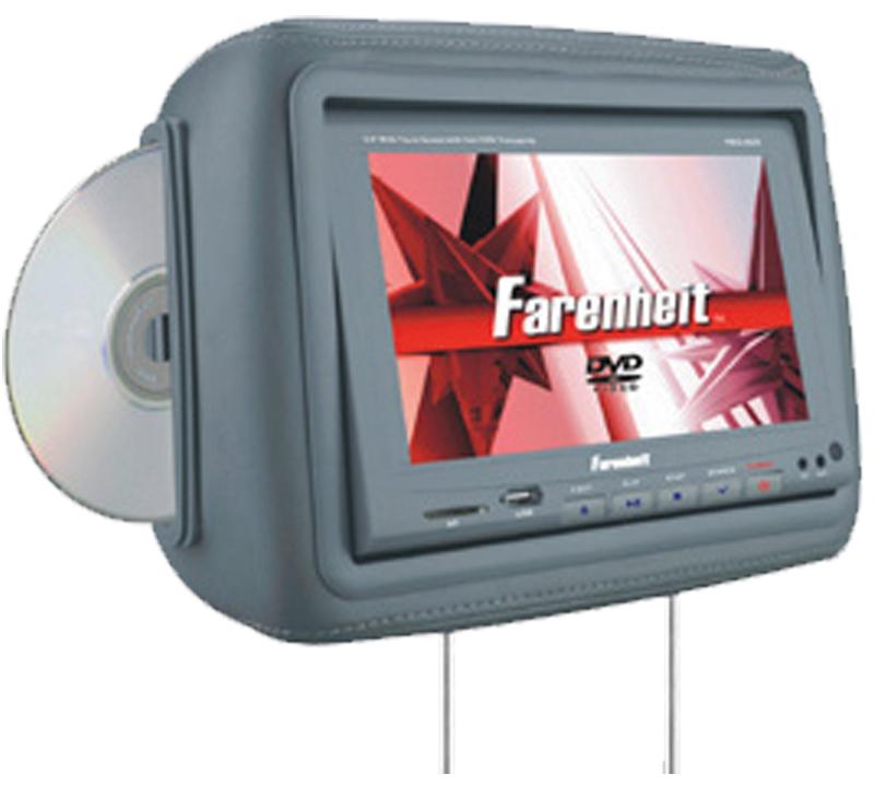 """Farenheit HRD-9GR  8.8"""" Universal Replacement Headrest w/ 2 Headphones (Gray)"""
