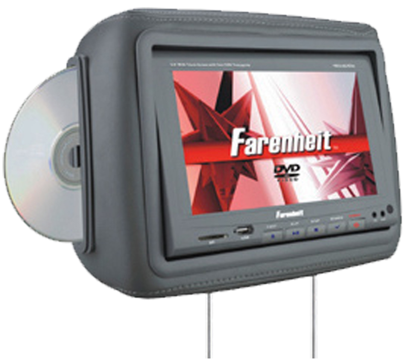 "Farenheit HRD-9GRDK  8.8"" Universal Replacement Headrest w/ 2 Headphones (Dark Gray)"