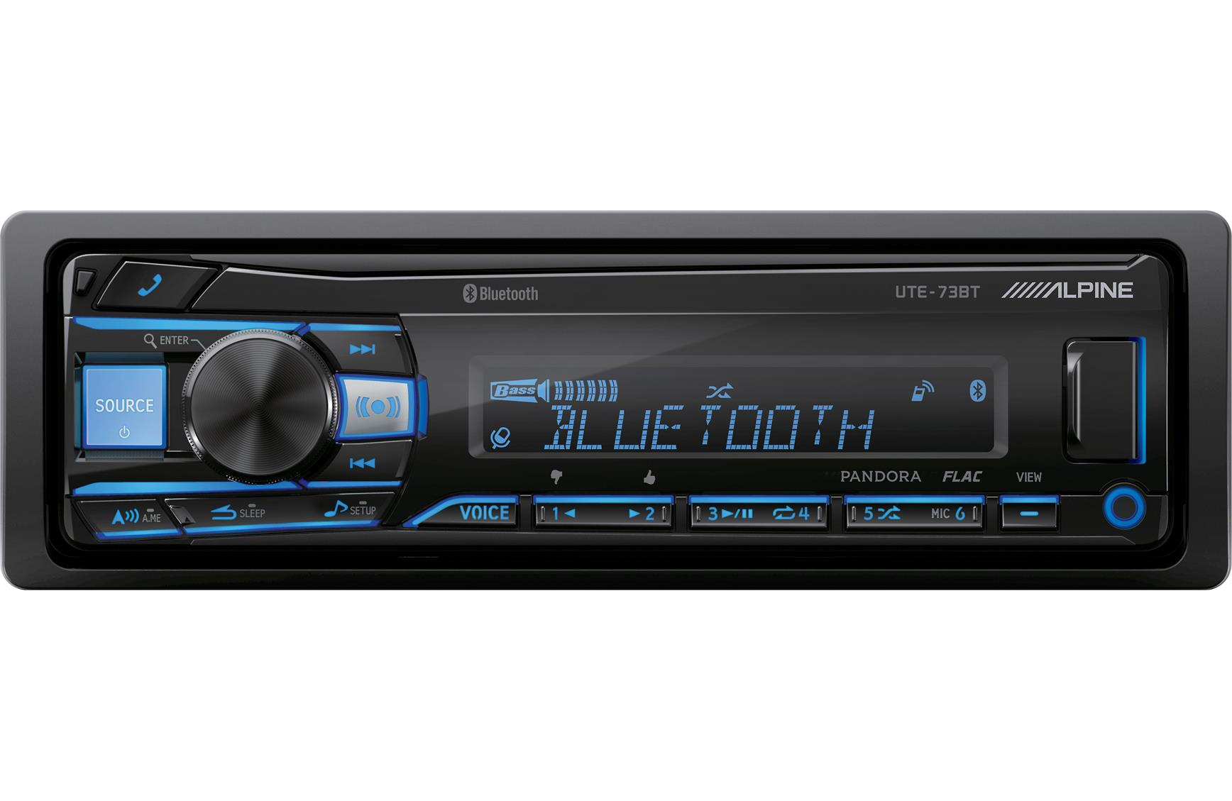 Alpine UTE-73BT Car Stereo Single DIN Digital Media USB AUX