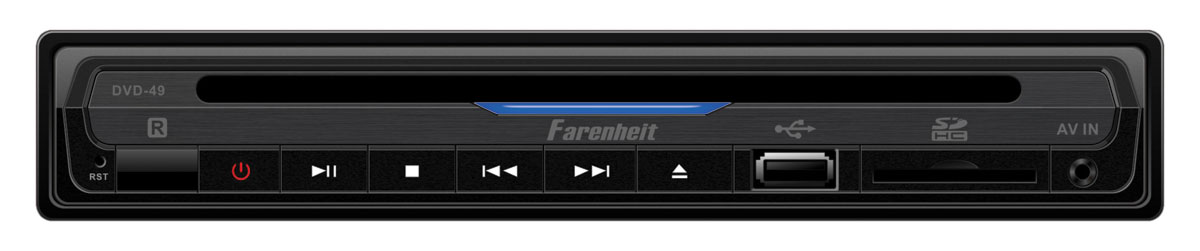 Farenheit DVD-49 Single DIN DVD Player Digital Media Drive w/ On Screen Display