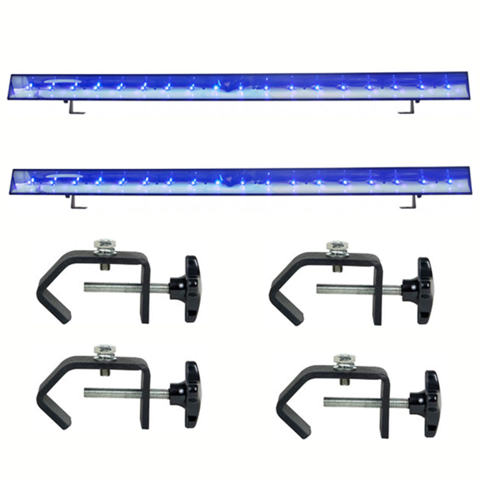 American DJ 18x3Watt LED Eco DMX Lighting Bar (2) with Heavy Duty C-Clamp (4)