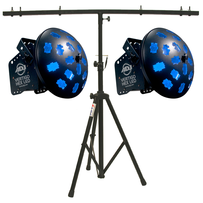 American DJ (2) Vertigo HEX LED Rotating Multi Color Sound Activated LED Beam Light with T-Bar Light Stand