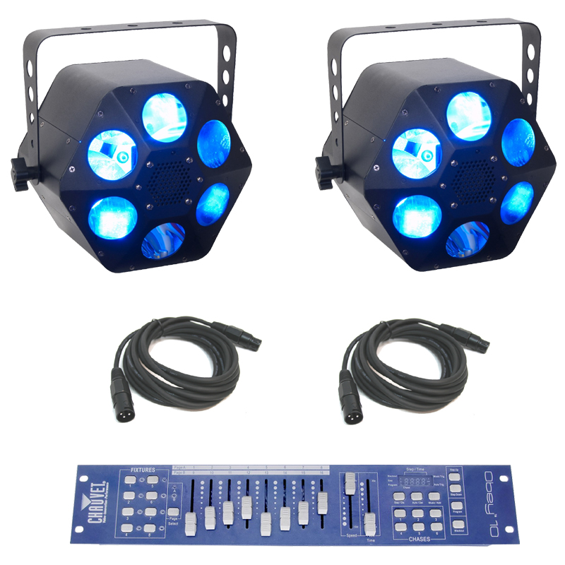 American DJ (2) Quad Phase HP Moonflower LED Beam RGBW Light with Obey 10 Controller & DMX Cables