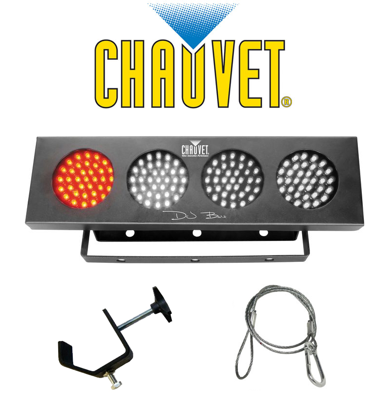 Chauvet Lighting DJ BANK Multi Color LED Chase Effect Light with Mounting Clamp & Safety Cable Package