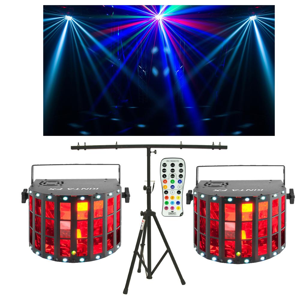 (2) Chauvet DJ Lighting Kinta FX Derby Laser Strobe Effect Light Remote & Stand