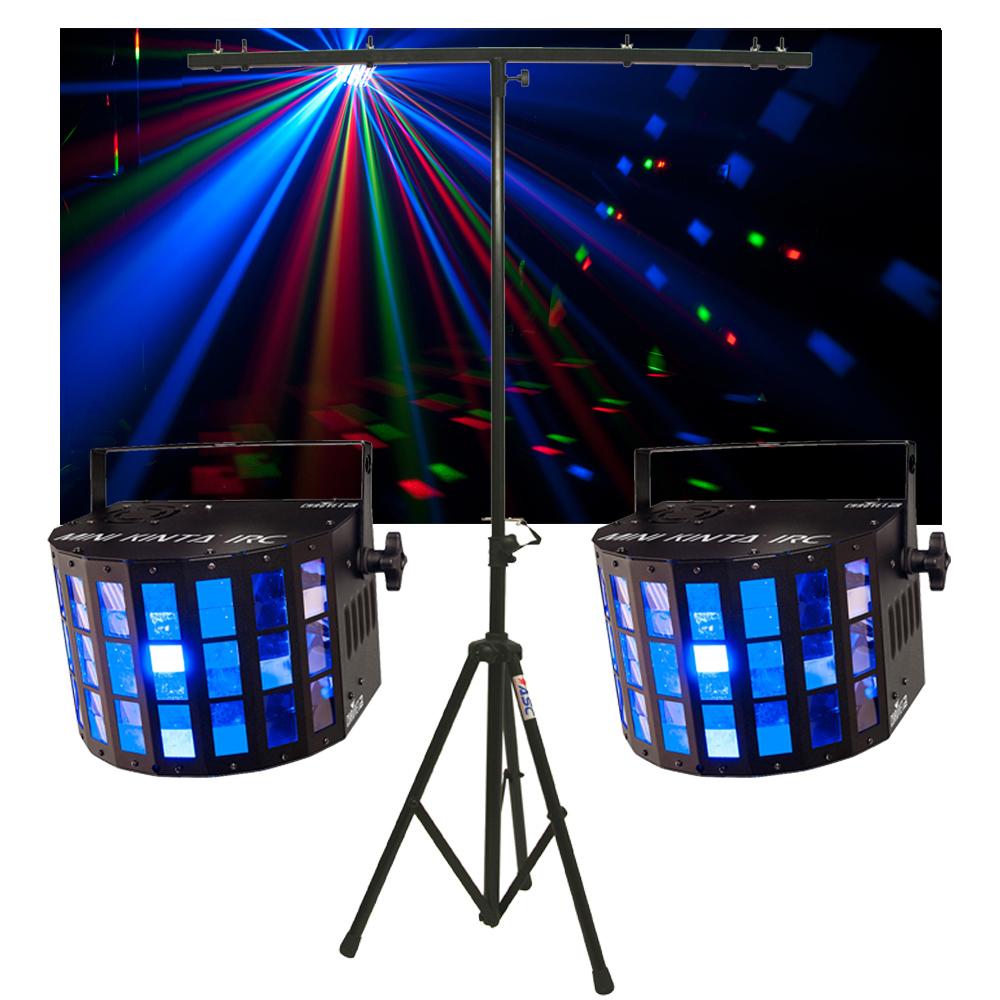 (2) Chauvet DJ Lighting Mini Kinta IRC Derby Color LED Light w/ Tripod Stand New