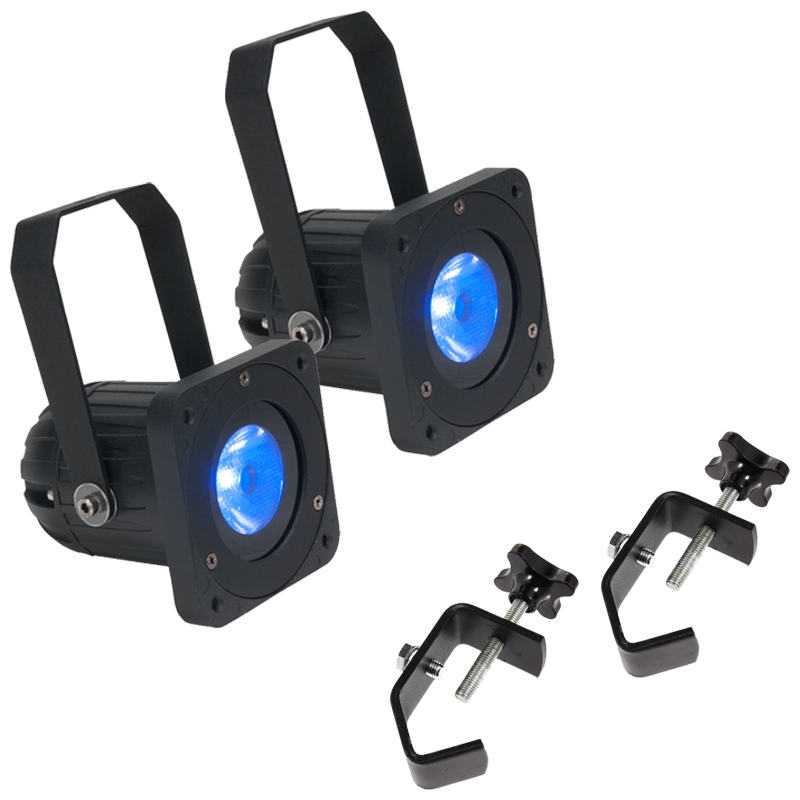 Elation Lighting (2) Elar Q1 RGBW LED Par Fixtures w/ 2 Heavy Duty Truss Clamps