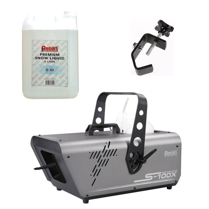 Elation Lighting S-100X 5-Liter Snow Machine Package with Fluid & Truss Clamp