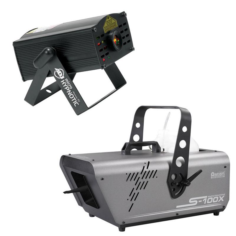 Elation Lighting S-100X 5-Liter Snow Machine Package with Micro Hypnotic Laser