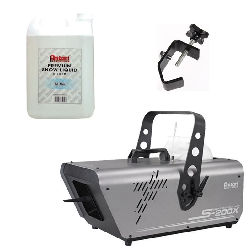 Elation Lighting S-200X 5L Silent Snow Machine Package w/ Juice & Truss Clamp