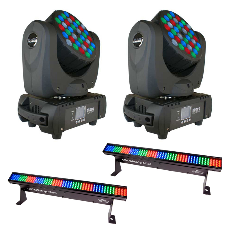 Blizzard (2) Blade RGBW Moving Head Pack w/ (2) COLORstrip Mini Linear LED Wash