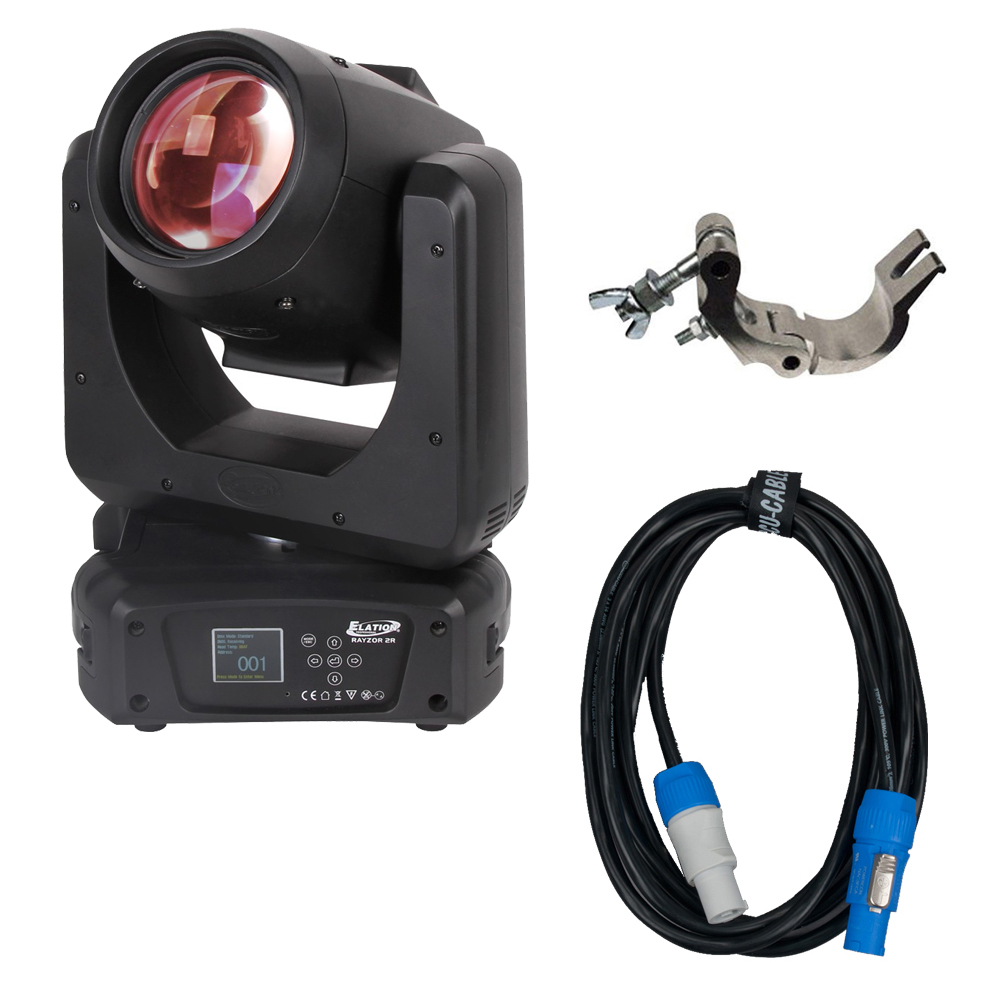 Elation Rayzor Beam 2R 130Watt Beam Moving Head w/ Pro Clamp & Powercon Cable