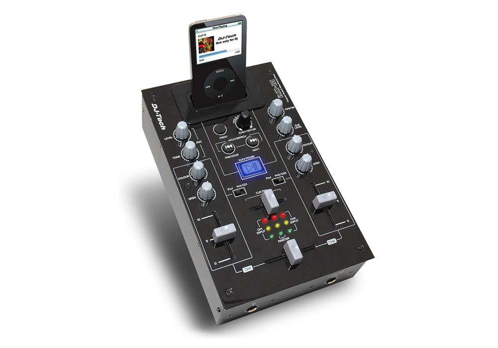DJ Tech iMX-10 2 Channel Analog DJ Mixer with iPod Audio & Video Player