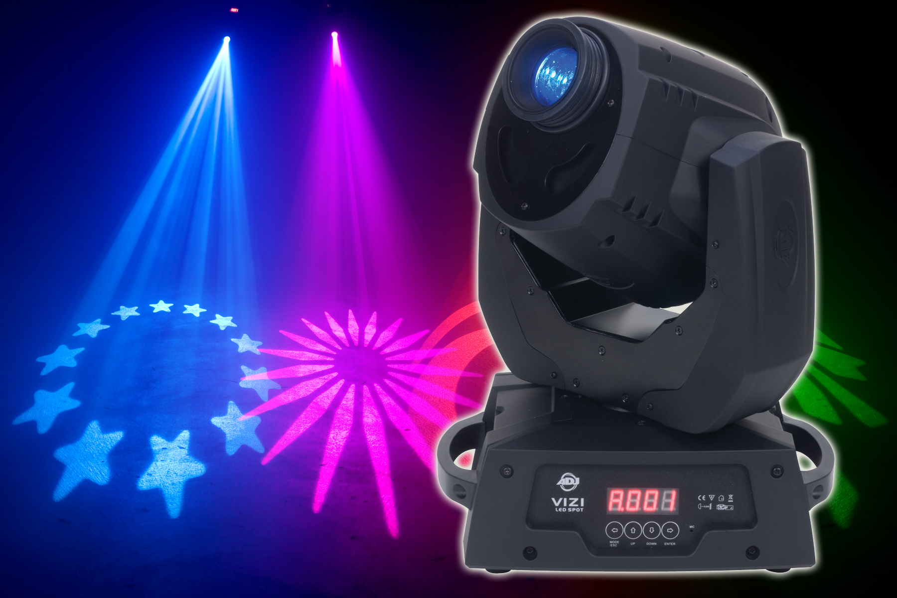 american dj vizi led spot club dj moving head multi color gobo light vizi led spot rs ns. Black Bedroom Furniture Sets. Home Design Ideas
