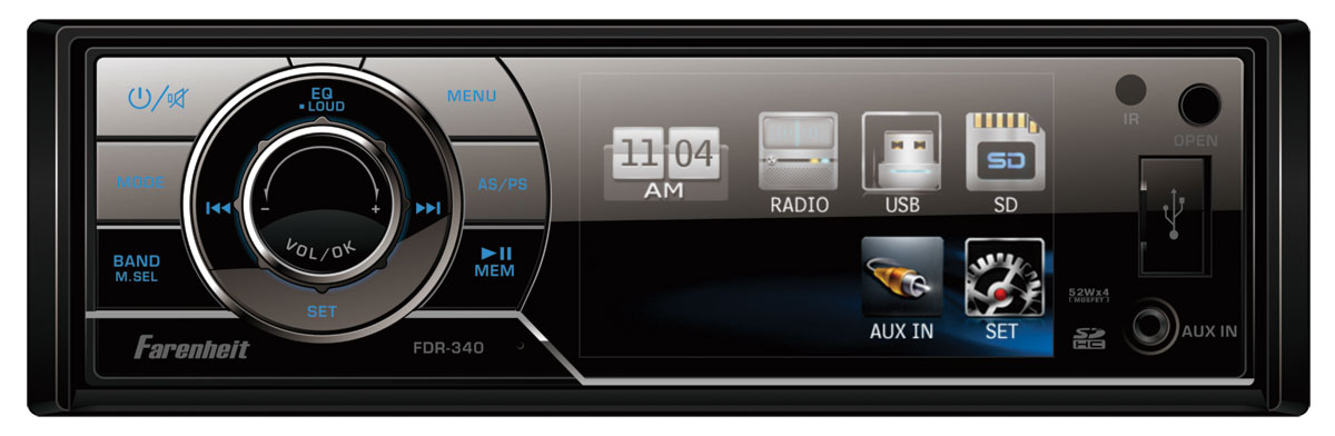 Farenheit FDR-340T 1 DIN High Quality Digital Media Receiver w/ Analog TV Tuner