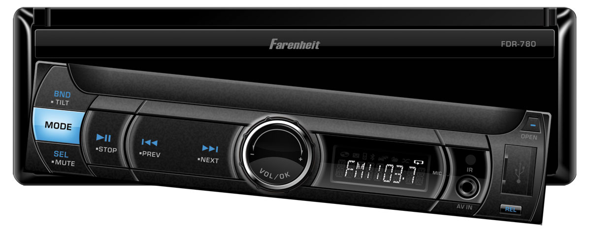 "Farenheit FDR-780T 1 DIN 7"" LCD Touch Screen Digital Media Receiver w/ TV Tuner"