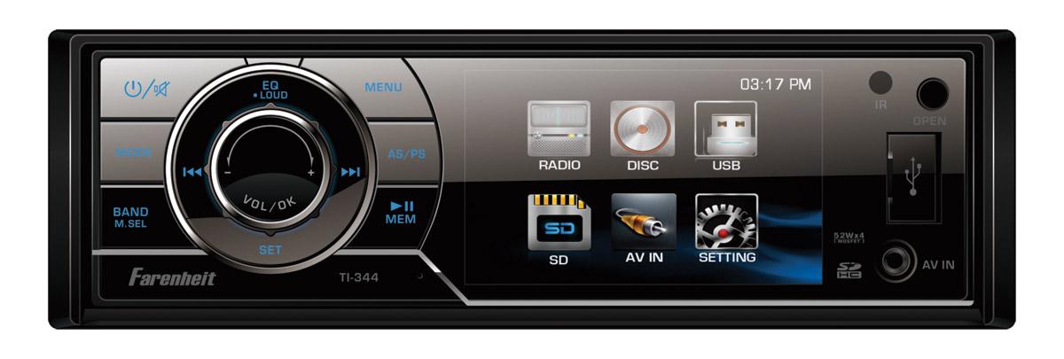 Farenheit TI-344 1 DIN Source Unit w/ Detachable 3.4 Inch 720x420 Res LCD Screen