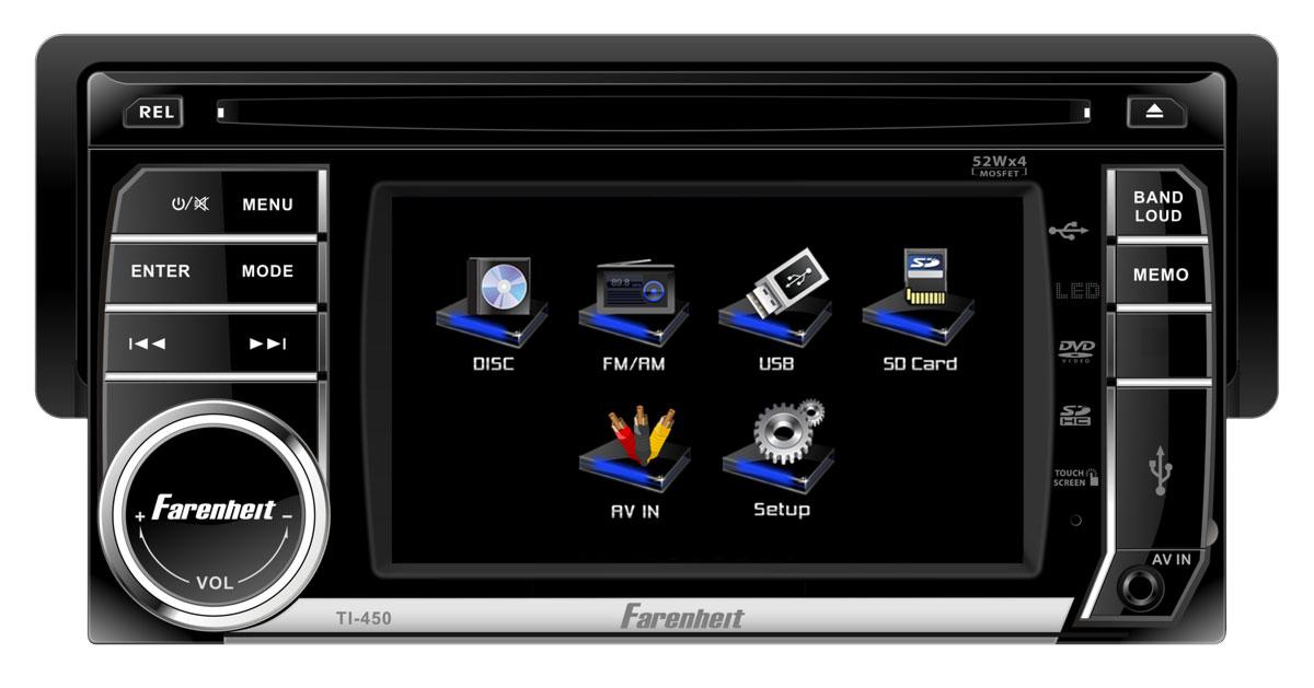 "Farenheit TI-450 1 DIN Media Source Unit w/ Theft Deterrent 4.5"" LCD Faceplate"