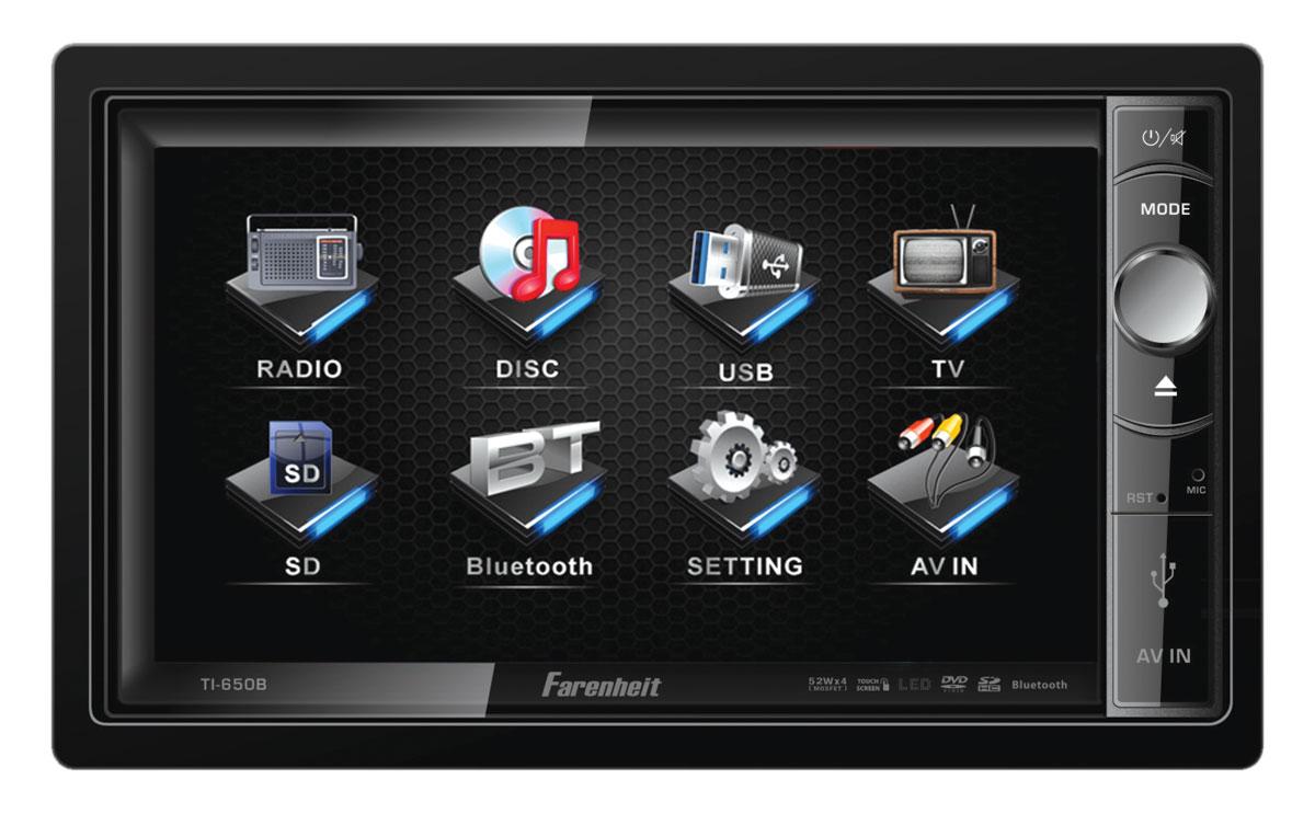 "Farenheit TI-650B 2 DIN 6.5"" Motorized LCD Touch Screen Source Unit w/ Bluetooth"