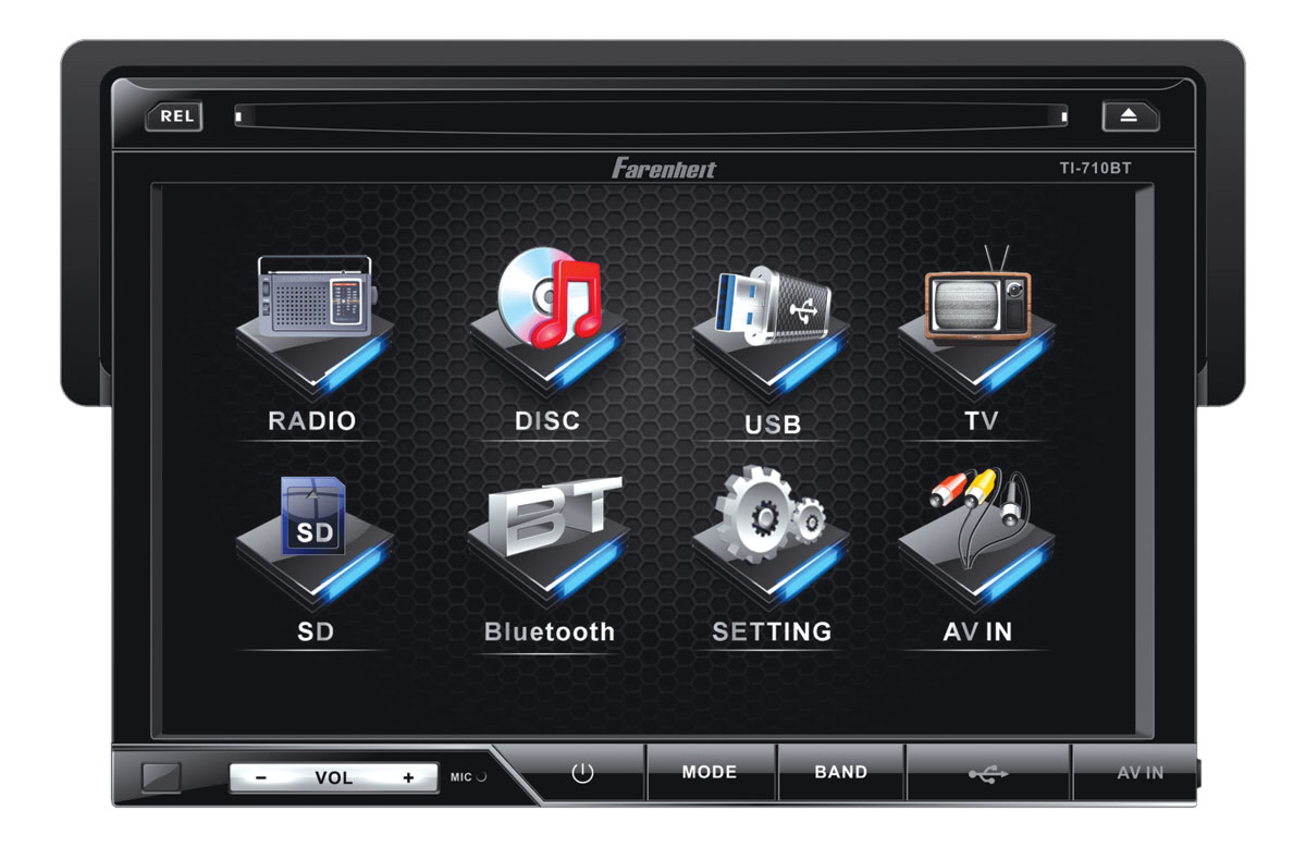 Farenheit TI-710 1 DIN 7 Inch Anti-Theft LCD Touch Screen Multimedia Source Unit