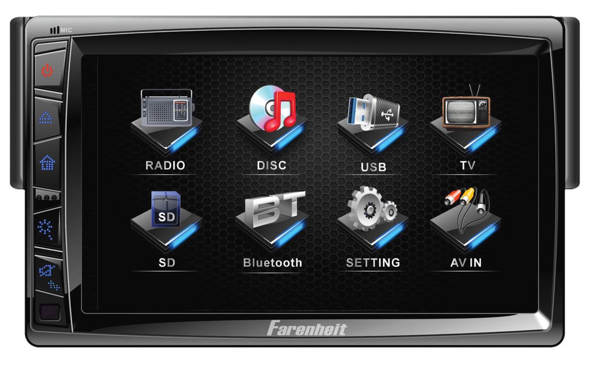 "Farenheit TI-712B 1 DIN 7"" Detachable Faceplate LCD Source Unit w/ Bluetooth 2.0"