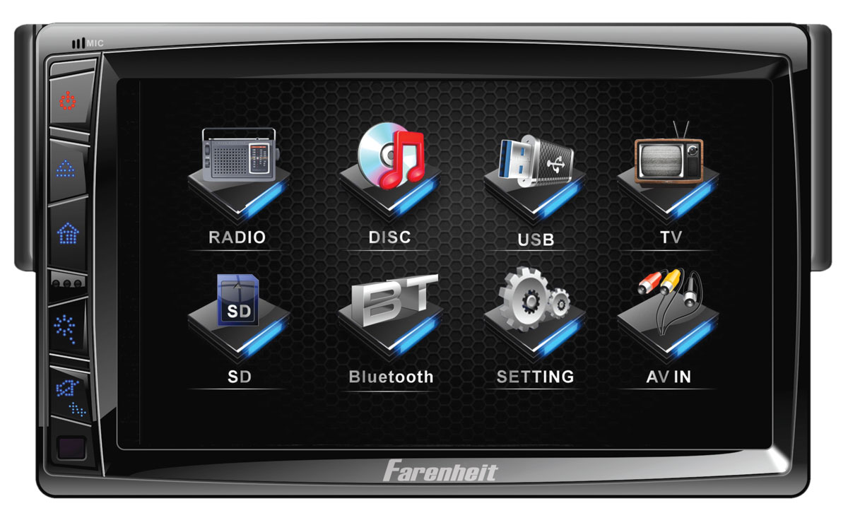 Farenheit TI-712T 1DIN Motorized LCD Touch Screen Source Unit w/ Analog TV Tuner