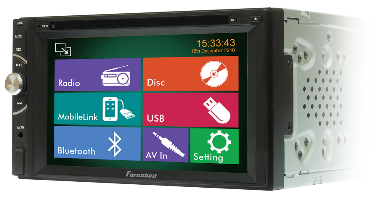 "Farenheit TI-620HB 2-DIN 6.2"" LCD Mobile 8 Multimedia Source Unit w/ Mobile Link"