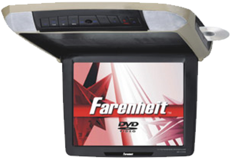 """Farenheit MD-1210CMX 12.1"""" Overhead Flip-Down TFT-LCD Monitor & 3 Snap-on Skins/Colors"""
